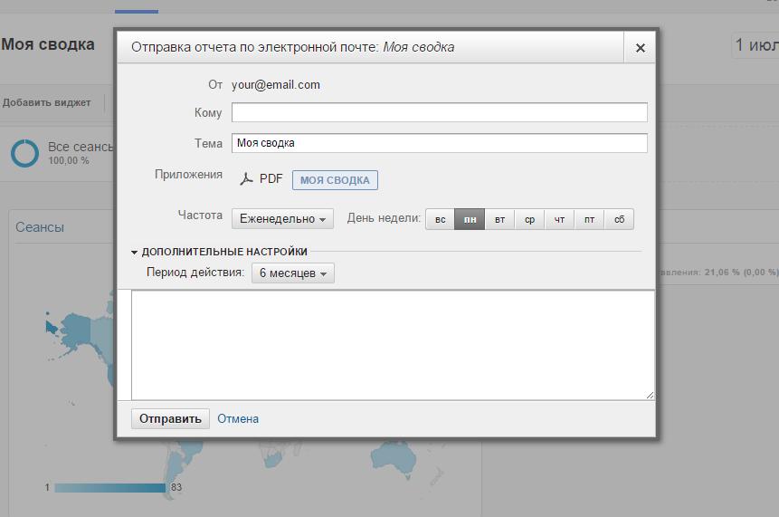 Отправка отчета Google Analytics