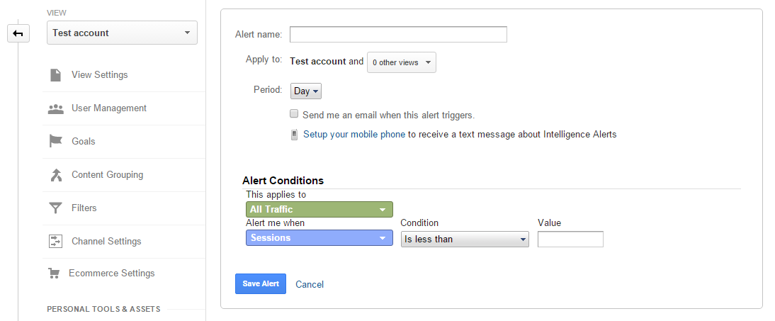 An interface for creating an Alert in Google Analytics