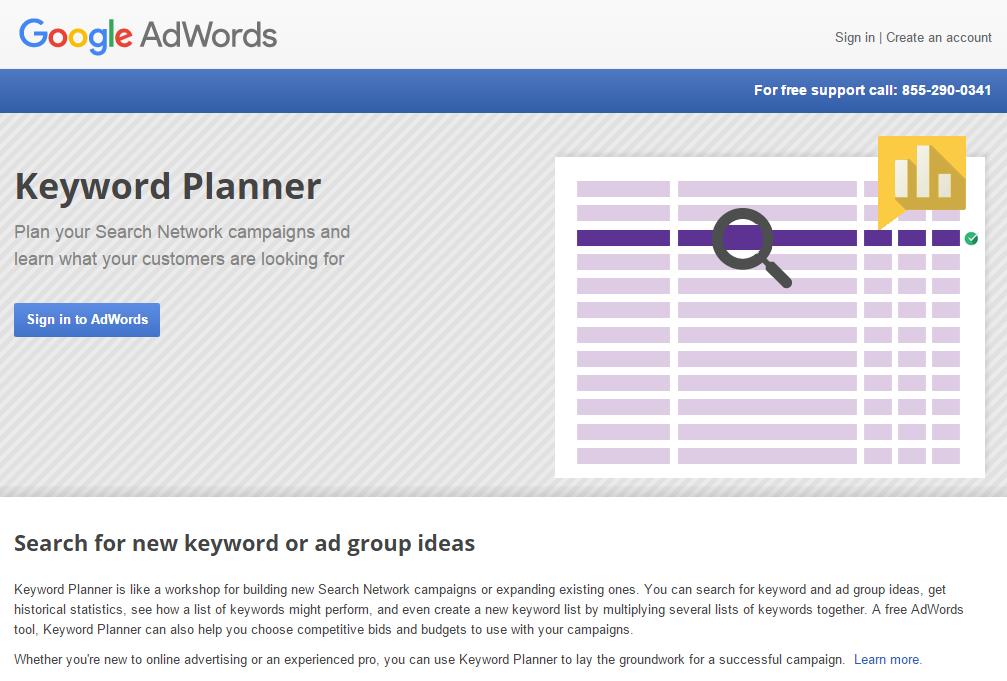Planner for Google AdWords keywords