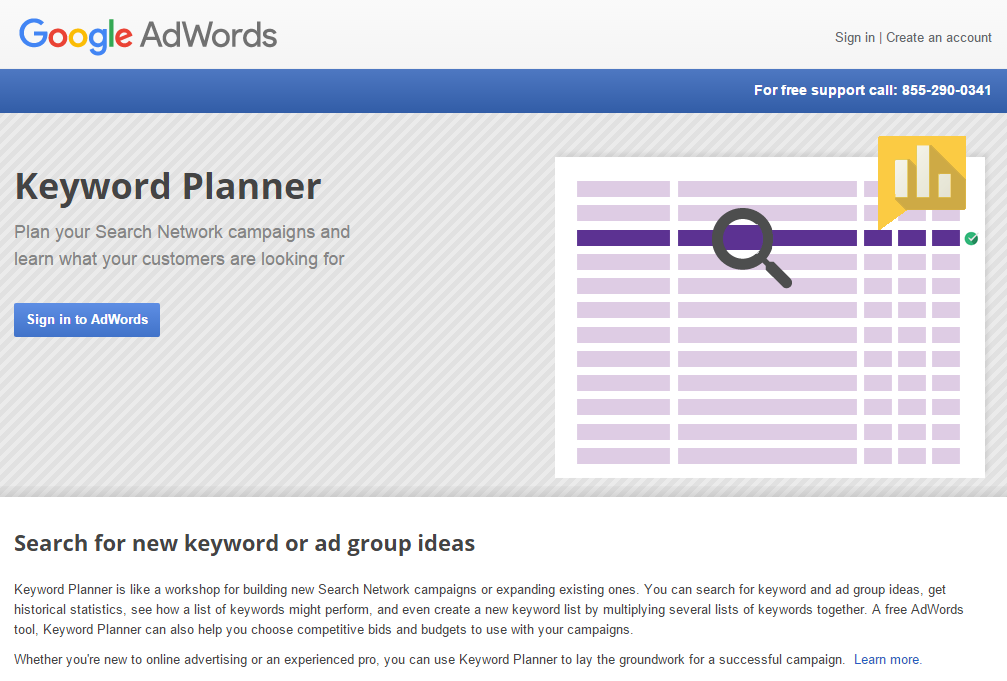 Planner for Google AdWords keywords