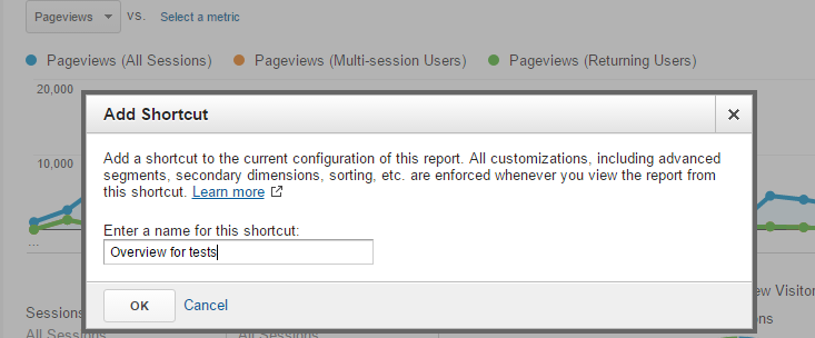 Creating a name for the Shortcut in Google Analytics