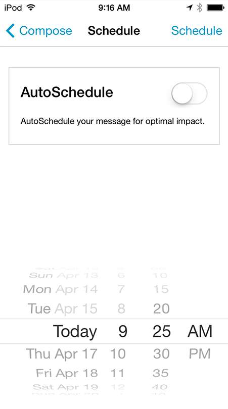 Hootsuite schedule for iOS