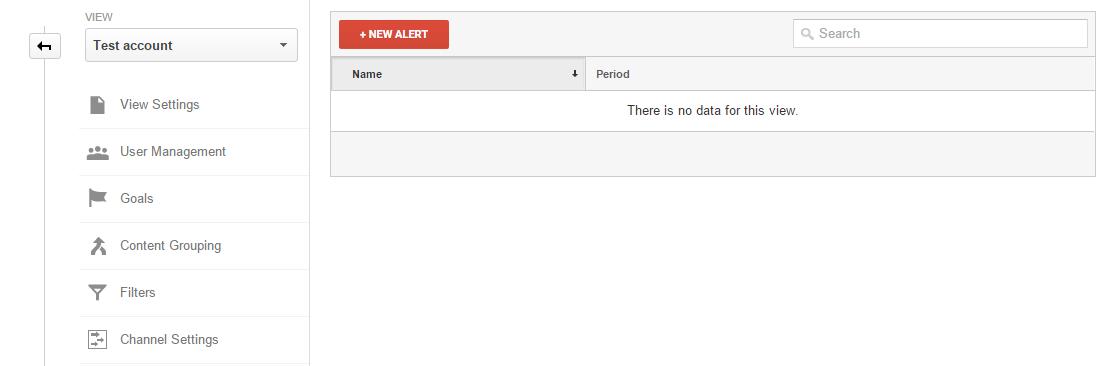 Creating new Alert in Google Analytics