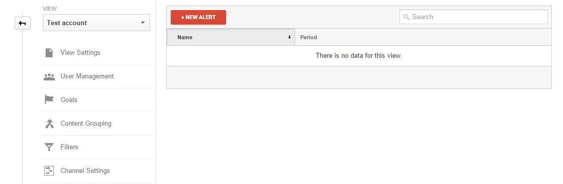 Creating new Alert in Google Analytics