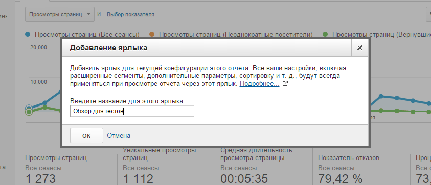 Создаем имя для Ярлыка в Google Analytics